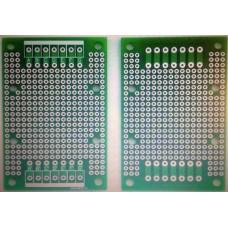 PCB - Kretskort- Experimentkort, 47,4 x 72mm, genompläterade hål